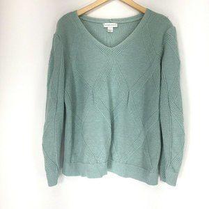 Christopher Banks XL Sweater Pullover V-Neck Green